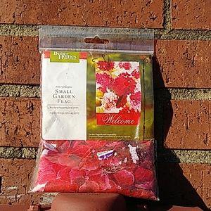 Small garden flag pink hydrangeas